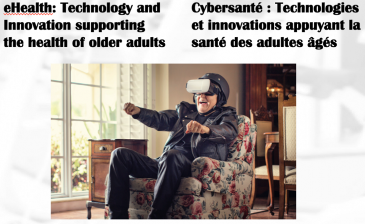 An elderly man sitting in his living room in a comfortable chair. He is wearing virtual reality goggles and is pretending to drive a motorcycle..
